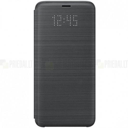 Samsung Galaxy S9 (G960) originalus Led View Cover atverčiamas juodas odinis dėklas - piniginė