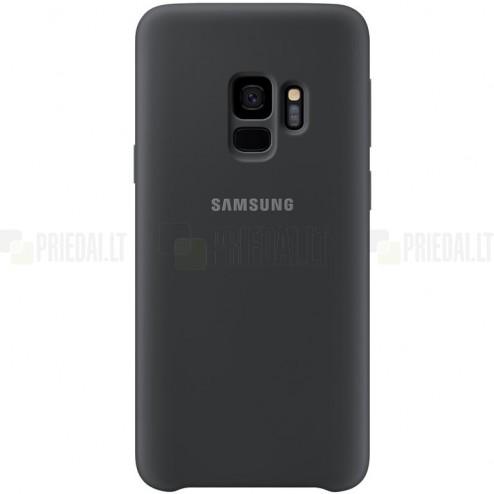 """Samsung Galaxy S9 (G960) """"Samsung"""" Silicone Cover kieto silikono juodas dėklas"""