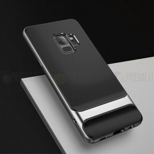 """""""Rock"""" Royce sustiprintos apsaugos Samsung Galaxy S9 (G960) juodas pilkos spalvos apvadais kieto silikono (TPU) ir plastiko dėklas"""