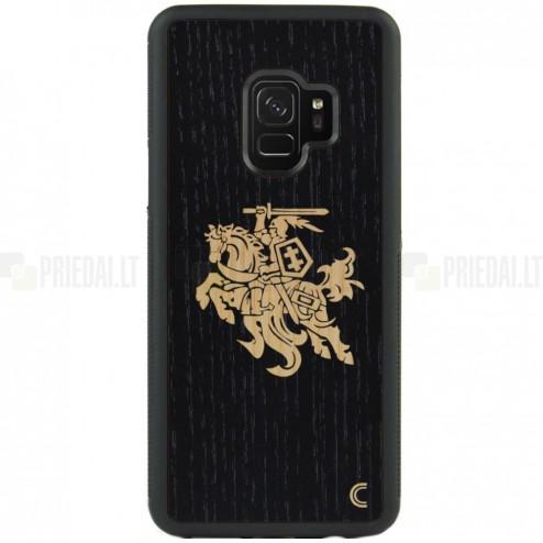 """Samsung Galaxy S9 (G960) """"Crafted Cover"""" Juodas Vytis natūralaus medžio dėklas (šviesus medis)"""