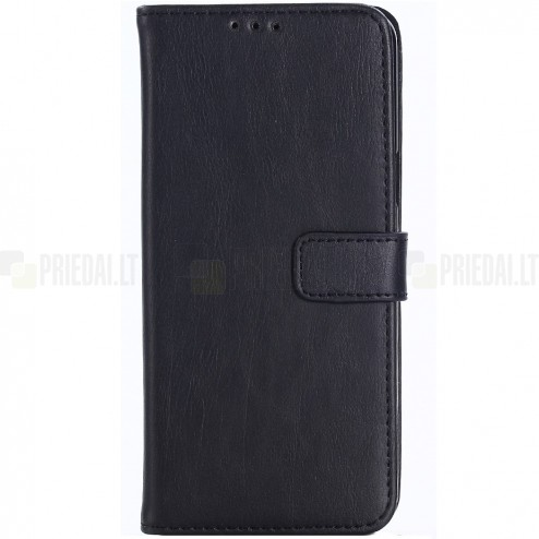 Samsung Galaxy S9 (G960) atverčiamas juodas odinis retro dėklas - piniginė