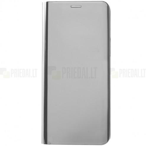 Samsung Galaxy S9 (G960) plastikinis atverčiamas sidabrinis dėklas