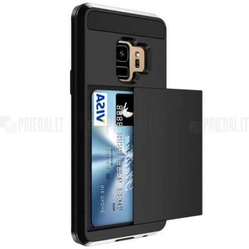 """""""Sliding"""" Card Holder Samsung Galaxy S9 (G960) juodas kieto silikono dėklas"""