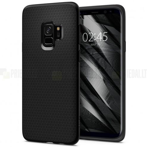 """""""Spigen"""" Liquid Air Samsung Galaxy S9 (G960) juodas kieto silikono dėklas"""