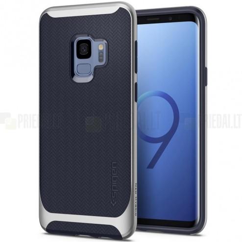 """""""Spigen"""" Neo Hybrid sustiprintos apsaugos Samsung Galaxy S9 (G960) mėlynas kieto silikono (TPU) ir plastiko dėklas"""