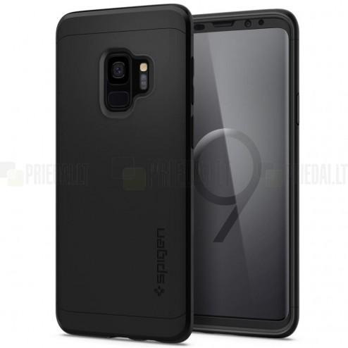 """""""Spigen"""" Thin Fit 360 plastikinis Samsung Galaxy S9 (G960) telefonams juodas dėklas - nugarėlė + apsauginis ekrano stiklas"""