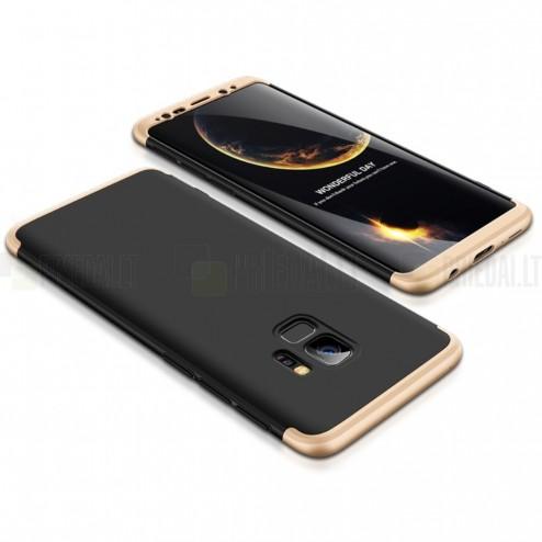 """""""Thin Fit 360"""" plastikinis Samsung Galaxy S9 (G960F) juodas dėklas - nugarėlė aukso spalvos apvadais"""
