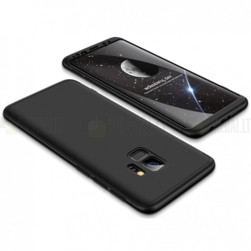 """""""Thin Fit 360"""" plastikinis Samsung Galaxy S9 (G960F) juodas dėklas - nugarėlė"""