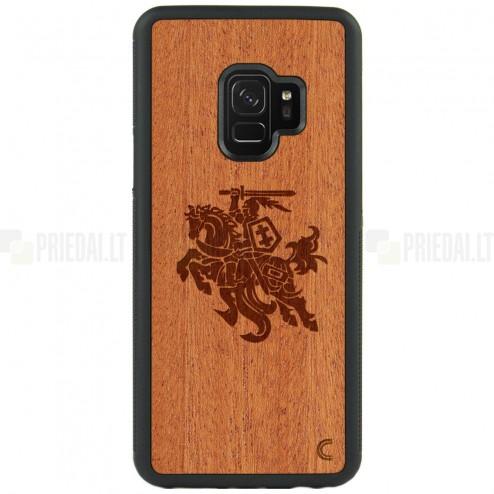 """Samsung Galaxy S9 (G960) """"Crafted Cover"""" Vytis natūralaus medžio dėklas (šviesus medis)"""