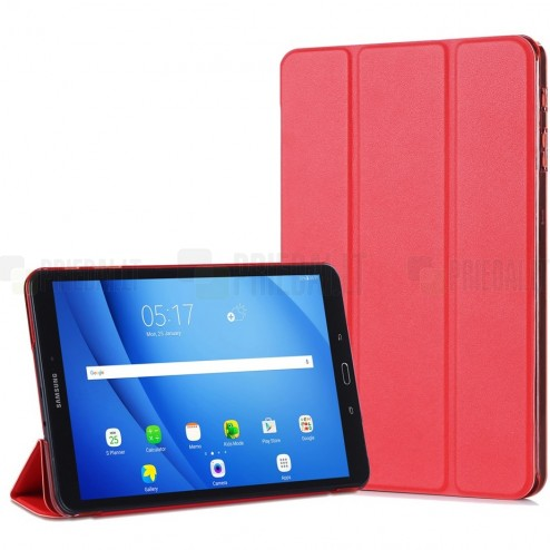 Samsung Galaxy Tab A 10.1 2016 (T580, T585) klasikinis atverčiamas raudonas odinis dėklas