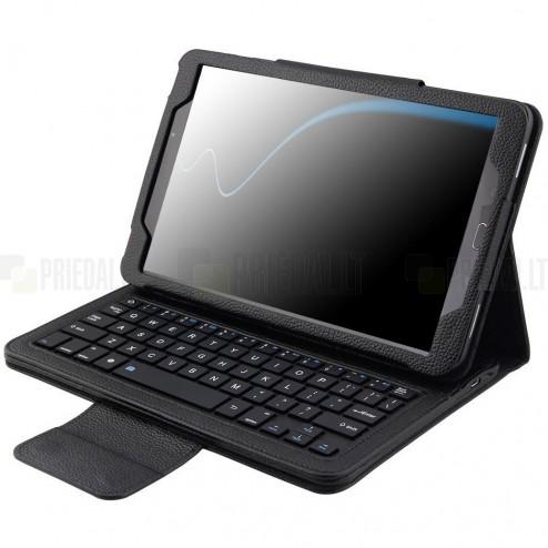 Samsung Galaxy Tab A 10.1 2016 (T580, T585) atverčiamas juodas odinis dėklas su bluetooth belaide klaviatūra