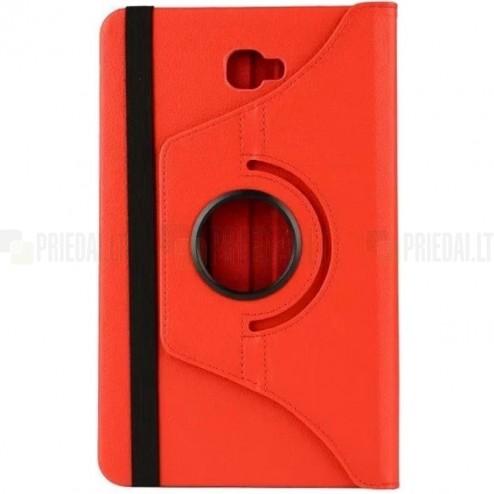 Samsung Galaxy Tab A 10.1 2016 (T580,T585) atverčiamas, sukamas 360 laipsnių, raudonas odinis dėklas - stovas