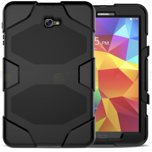 Samsung Galaxy Tab A 10.1 2016 (T580, T585) sustiprintos apsaugos juodas dėklas - nugarėlė