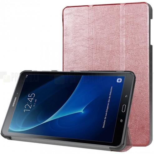 Samsung Galaxy Tab A 10.1 2016 (T580, T585) atverčiamas rožinis odinis dėklas - knygutė