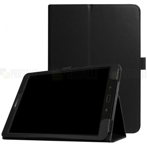 """Samsung Galaxy Tab S3 9,7 (T820, T825) """"Litchi"""" atverčiamas juodas odinis dėklas (sulankstomas)"""