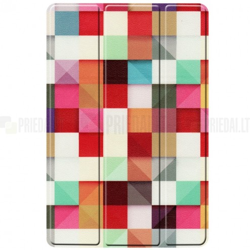 Samsung Galaxy Tab S5e (T720, T725) Pattern atverčiamas spalvotas, baltas odinis dėklas - knygutė