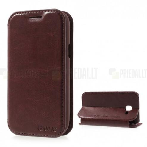Samsung Galaxy Trend II S7570 atverčiamas rudas odinis dėklas - knygutė