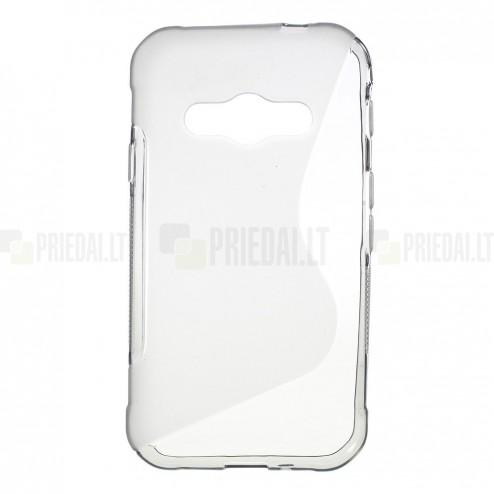 Samsung Galaxy Xcover 3 (G388) skaidrus (permatomas) kieto silikono TPU pilkas dėklas - nugarėlė