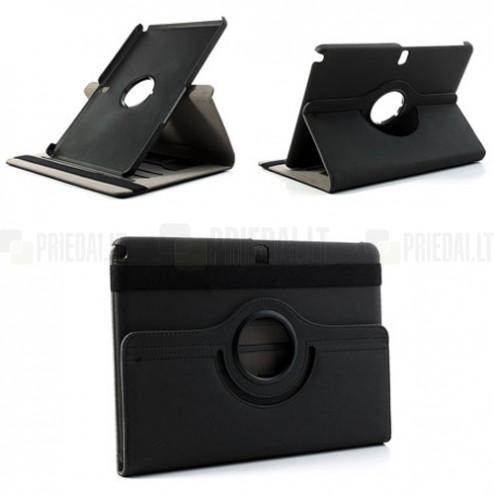 Atverčiamas juodas Samsung Galaxy Note 10.1 2014 P600 (P605) dėklas (dėkliukas) - piniginė, sukiojamas 360°