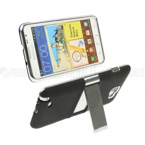 Plastikinis pastatomas juodas Samsung Galaxy Note i9220, N7000 dėklas (dėkliukas, nugarėlė) - stovas