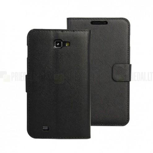 Juodas odinis atverčiamas Samsung Galaxy Note i9220, N7000 dėklas - stovas (dėkliukas) - knygutė