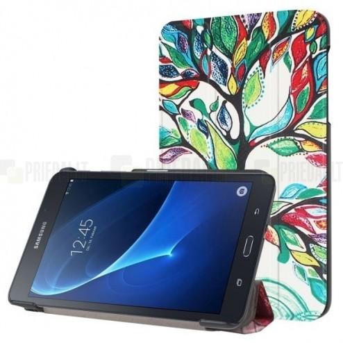 Samsung Galaxy Tab A 10.1 2016 (T580, T585) atverčiamas spalvotas, baltas odinis dėklas - knygutė