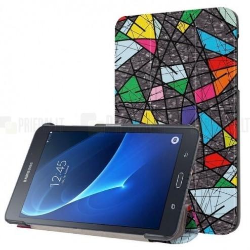 Samsung Galaxy Tab A 10.1 2016 (T580, T585) atverčiamas spalvotas, pilkas odinis dėklas - knygutė