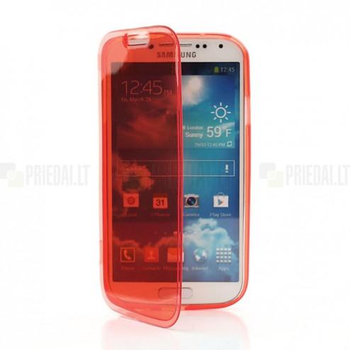 Samsung Galaxy S4 i9505 skaidrus raudonas silikoninis TPU atverčiamas dėklas (dėkliukas) - knygutė