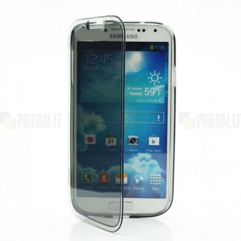 Samsung Galaxy S4 i9505 skaidrus silikoninis TPU atverčiamas dėklas (dėkliukas) - knygutė