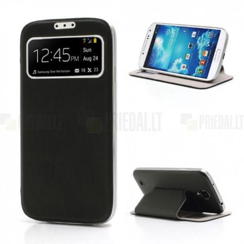 Samsung Galaxy S4 S-View stiliaus juodas atverčiamas dėklas (dėkliukas) - galinis dangtelis