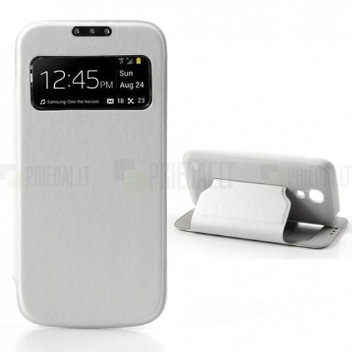 """Atverčiamas """"S-View"""" baltas Samsung Galaxy S4 Mini dėklas"""