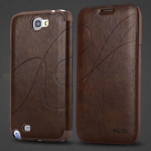 """""""Kalaideng"""" Oscar atverčiamas rudas odinis Samsung Galaxy Note 2 N7100 dėklas (dėkliukas)"""