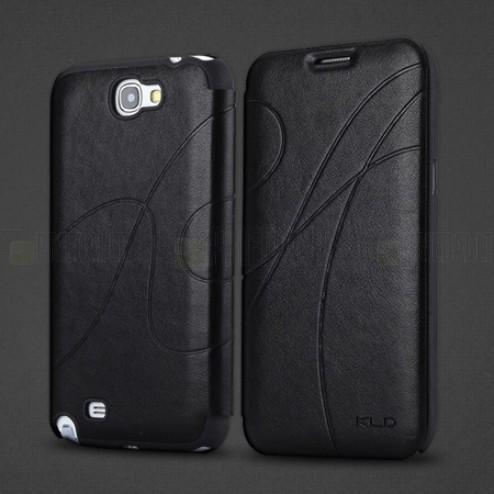 """""""Kalaideng"""" Oscar atverčiamas juodas odinis Samsung Galaxy Note 2 N7100 dėklas (dėkliukas)"""