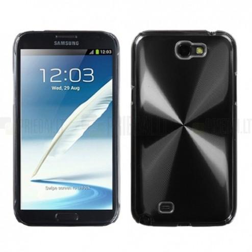 Samsung Galaxy Note 2 N7100 juodas cd stiliaus metalo ir plastiko dėklas (dėkliukas)