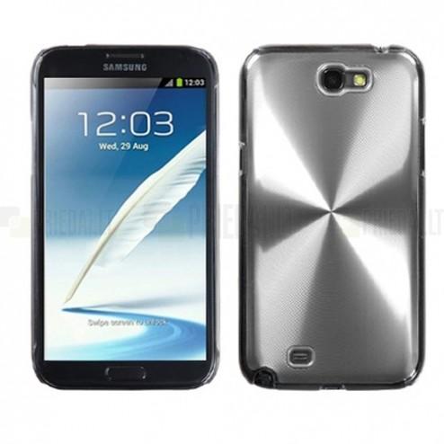 Samsung Galaxy Note 2 N7100 sidabrinis cd stiliaus metalo ir plastiko dėklas (dėkliukas, nugarėlė)