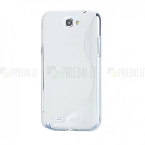 Skaidrus silikoninis/matinis Samsung Galaxy Note 2 dėklas