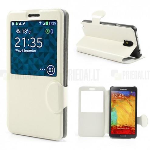 """""""Crazy Horse"""" atverčiamas odinis baltas S View stiliaus Samsung Galaxy Note 3 N9005 dėklas (dėkliukas)"""