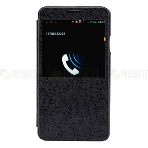 """Samsung Galaxy Note 3 N9005, N9000, N9002 """"ROCK"""" Excel juodas atverčiamas S View stiliaus dėklas (dėkliukas)"""