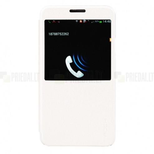 """Samsung Galaxy Note 3 N9005, N9000, N9002 """"ROCK"""" Excel baltas atverčiamas S View stiliaus dėklas (dėkliukas)"""