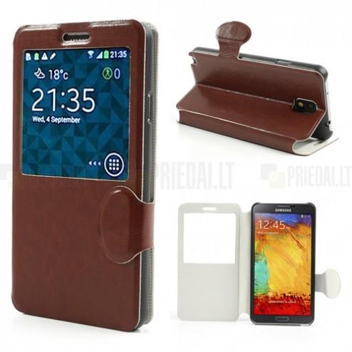 """""""Crazy Horse"""" atverčiamas odinis rudas S View stiliaus Samsung Galaxy Note 3 N9005 dėklas (dėkliukas)"""