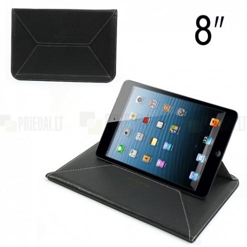 Universali juoda odinė kompiuterinės planšetės įmautė, vokas, 8 colių planšetėms