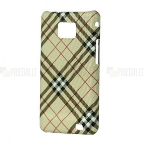 """""""Burberry"""" stiliaus šviesiai rudas Samsung Galaxy S2 i9100 dėklas (dėkliukas, nugarėlė)"""