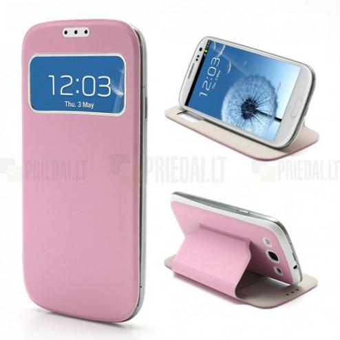 Samsung Galaxy S3 i9300 S View (S-View stiliaus) atverčiamas rožinis dėklas (dėkliukas, dangtelis)