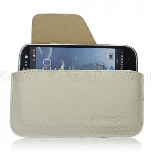 Smėlio spalvos odinė Samsung Galaxy S3 įmautė - dėklas
