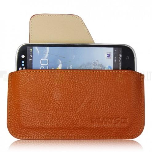 Rudos spalvos odinė Samsung Galaxy S3 įmautė - dėklas