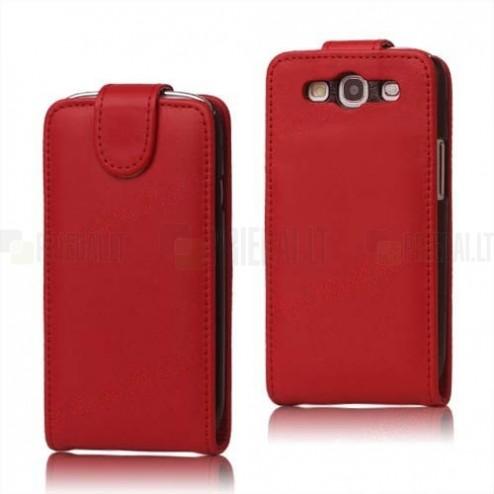 Klasikinis atverčiamas odinis raudonas Samsung Galaxy S3 i9300 dėklas (dėkliukas)