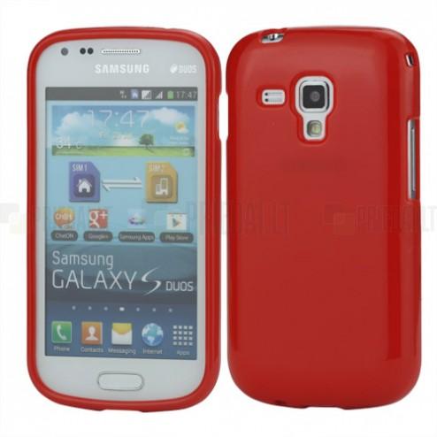 Raudonas silikoninis TPU Samsung Galaxy S Duos S7562 (Samsung Galaxy Trend S7560) dėklas (dėkliukas)