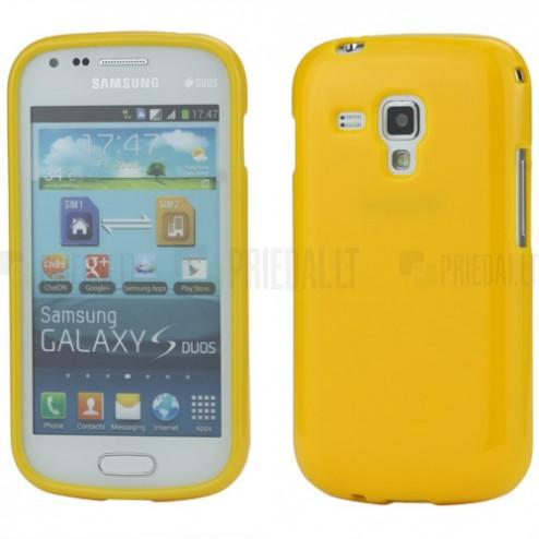 Geltonas silikoninis TPU Samsung Galaxy S Duos S7562 (Samsung Galaxy Trend S7560) dėklas (dėkliukas)