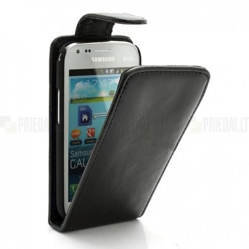Samsung Galaxy S Duos S7562 klasikinis atverčiamas juodas odinis dėklas (dėkliukas) (Samsung Galaxy S Trend S7560 dėklas)