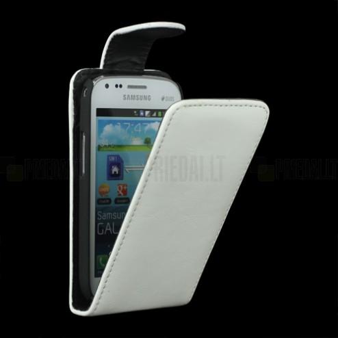 Samsung Galaxy S Duos S7562 klasikinis atverčiamas baltas odinis dėklas (dėkliukas) (Samsung Galaxy S Trend S7560 dėklas)